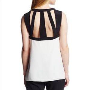 BCBG MaxAzria Laurenne Cutout Sleeveless Silk Top